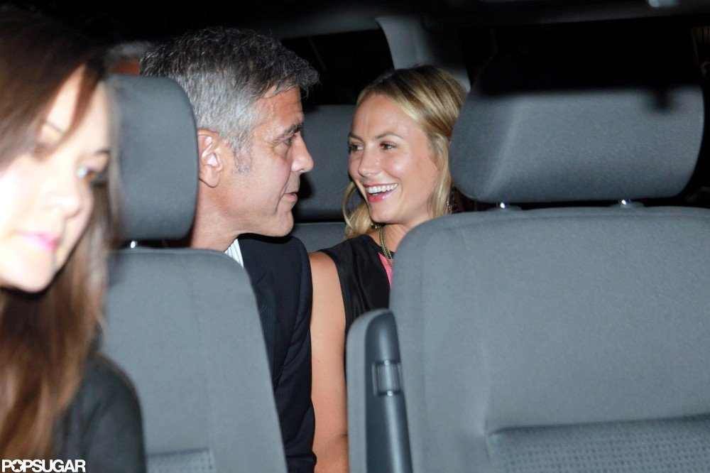 Stacy Keibler and George Clooney laughed after a date.