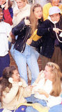 Gwyneth Paltrow, in the leather jacket, was caught in a cute moment with her high school friends.