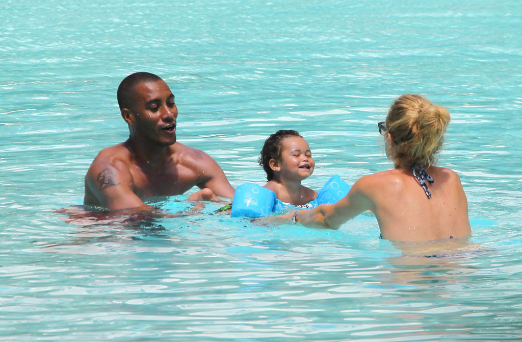 Doutzen Kroes and Sunnery James taught their son, Phyllon, to swim in Miami.