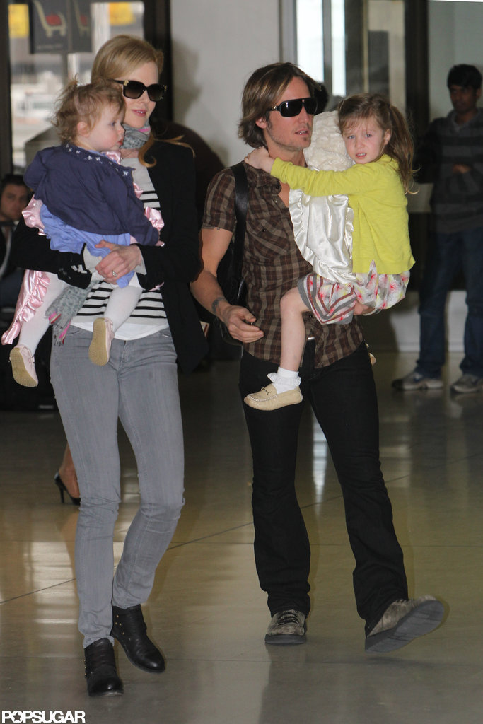 Nicole Kidman and Keith Urban traveled with daughters Faith Urban and Sunday Urban to the US.