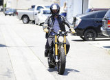 Orlando Bloom drove his motorcycle around West Hollywood after a morning workout.