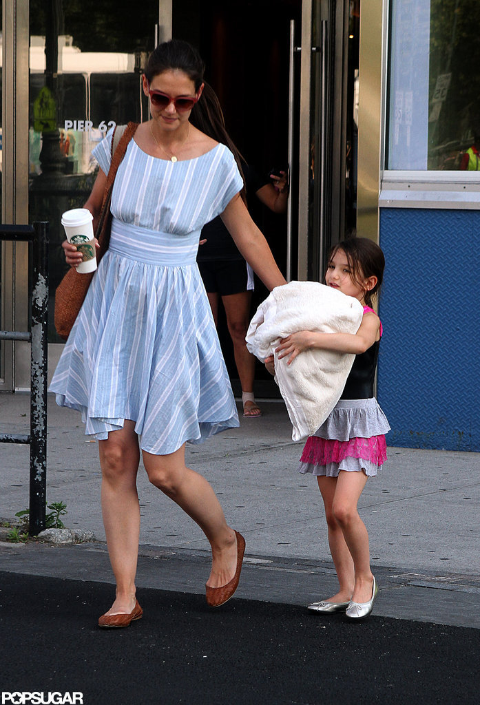 Katie Holmes led Suri Cruise out of Chelsea Piers in NYC.