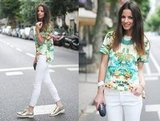 Put a cool spin on a Hawaiian tropics print with white skinny jeans and metallic oxfords. Photo courtesy of Lookbook.nu