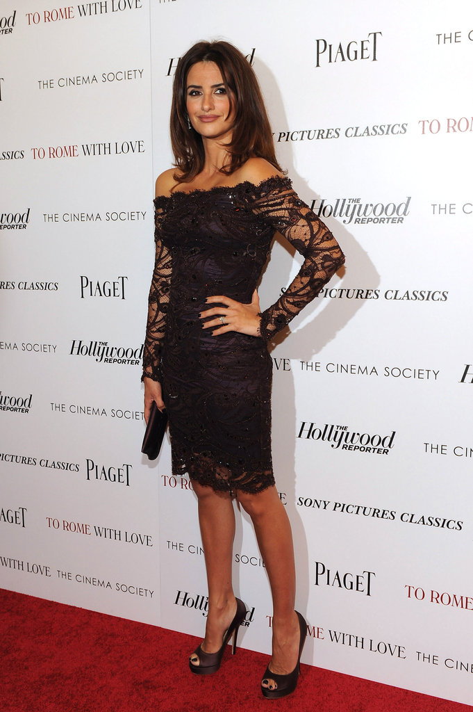 Penelope Cruz had a sexy moment on the red carpet for To Rome With Love in a lacy Pucci.