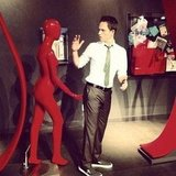 Patrick J. Adams got handsy with a statue on set. Source: Instagram user halfadams