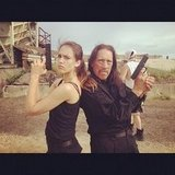 Jessica Alba played with guns with her Machete Kills costar Danny Trejo.  Source: Instagram user jessicaalba