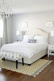 AM Dolce Vita, Master Bedroom, Windsor Smith Pelagos Drapes in Mist, William-Sonomas Upholstered Bed, French Bow-front Dresser,