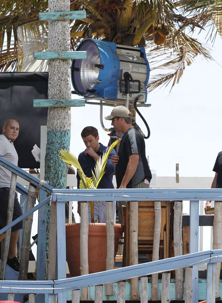 Justin Timberlake was hard at work on set in Puerto Rico.
