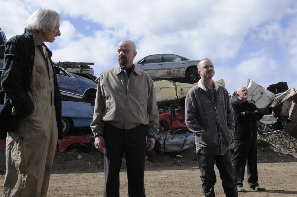 Larry Hankin, Bryan Cranston, Aaron Paul, and Jonathan Banks on Breaking Bad. Photo courtesy of AMC