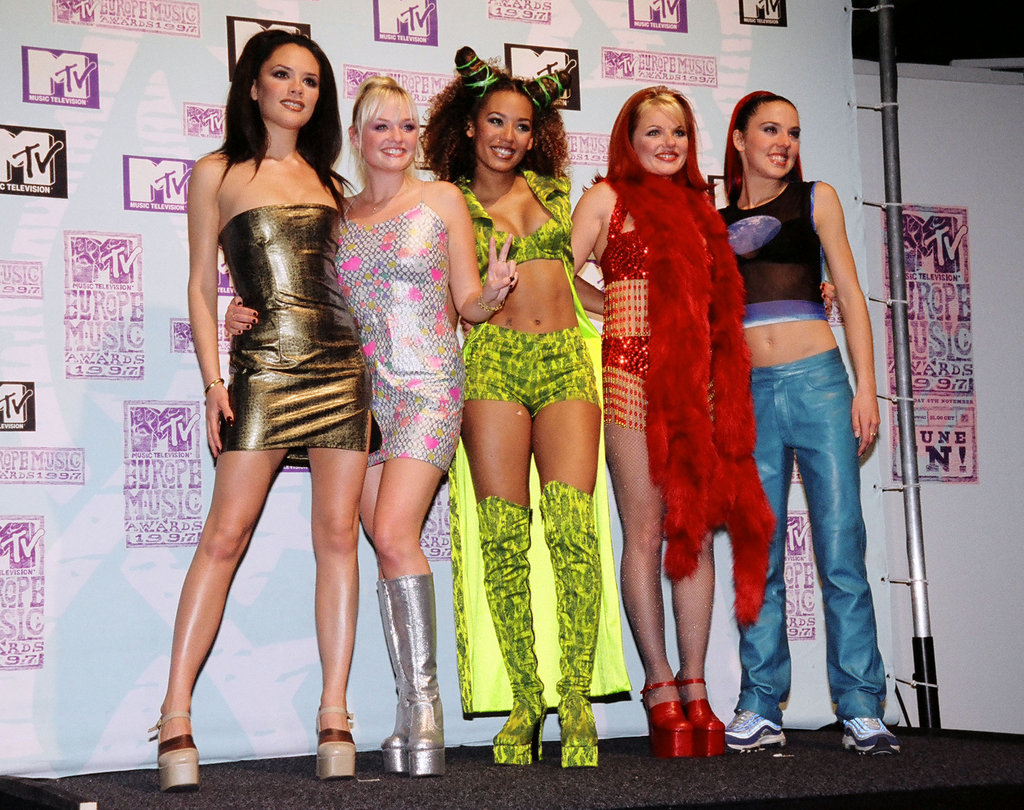 Victoria Beckham, Emma Bunton, Mel B, Geri Halliwell, and Mel C chatted with press backstage at the September 1997 MTV Europe Music Awards in LA.