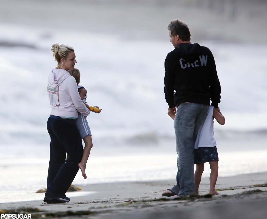 Britney Spears hung out on the beach with her kids.