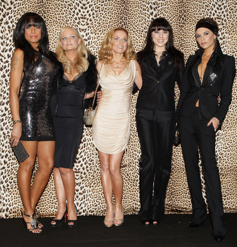 Melanie Brown, Emma Bunton, Geri Halliwell, Melanie Chisholm, and Victoria Beckham attended Roberto Cavalli's Milan fashion show in January 2008.