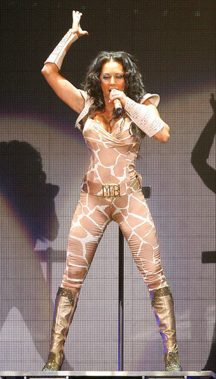 Mel B had no problem showing off her wild side in an animal-print jumpsuit at the Spice Girls world tour in London in 2008.