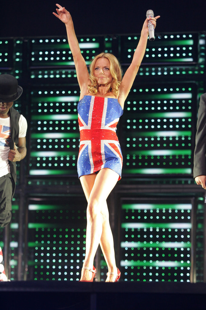 The Spice Girls loved showing off their UK love. Here, Geri Halliwell sported a Union Jack mini in 2007 during their world tour.
