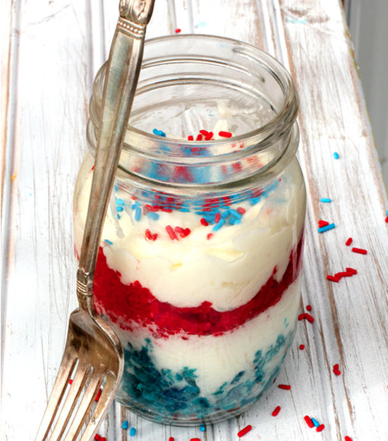 Red, White, and Blue Cake in a Jar