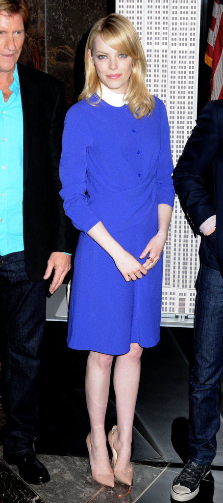 Covered up and classy at the New York photocall at the Empire State building.