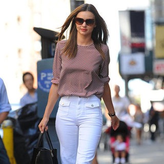 Miranda Kerr Walking in White Pants in NYC