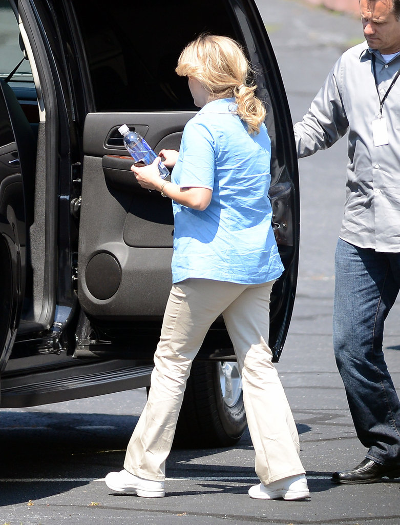 Reese Witherspoon got into a car while filming for Devil's Knot in Georgia.