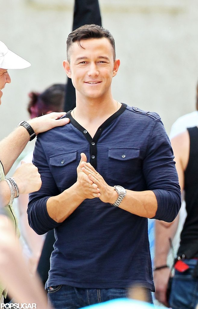 Joseph Gordon-Levitt seemed excited between takes of his newest film, Don Jon's Addiction.