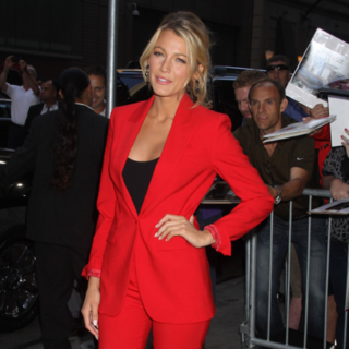 See Blake Lively's Red Hot Michael Kors' Red Suit For Her Good Morning America Appearance!