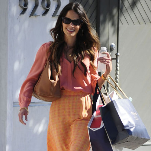 Jordana Brewster Wearing Orange Printed Maxi Skirt