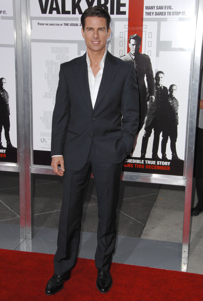 Tom Cruise arrived at the premiere for Valkyrie in December 2008, wearing a black suit.
