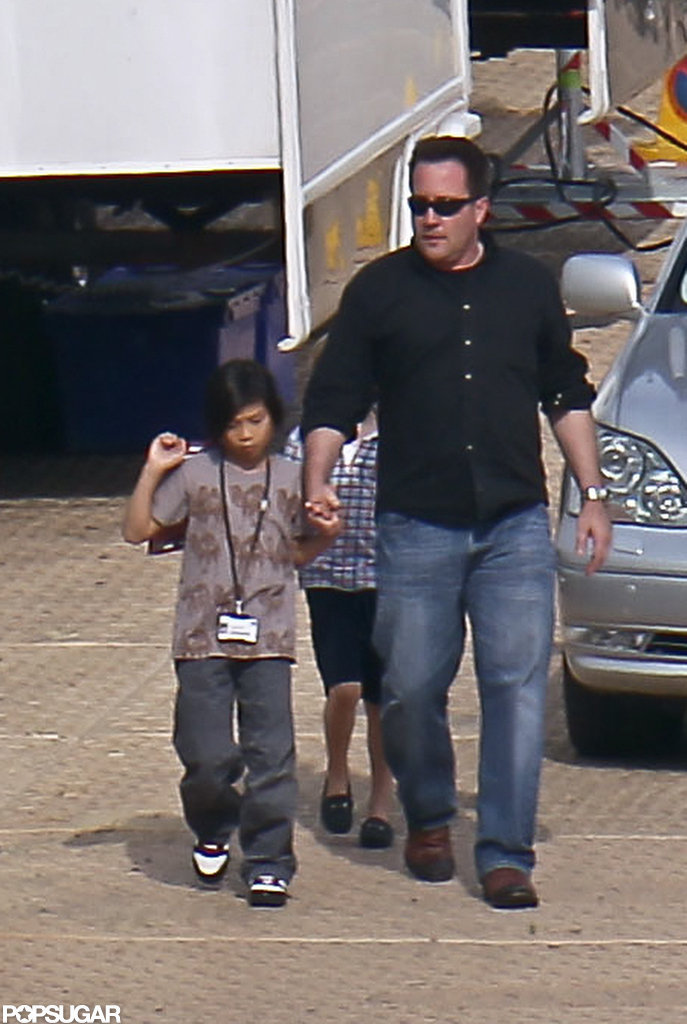 Pax Jolie-Pitt visited the Maleficent set.