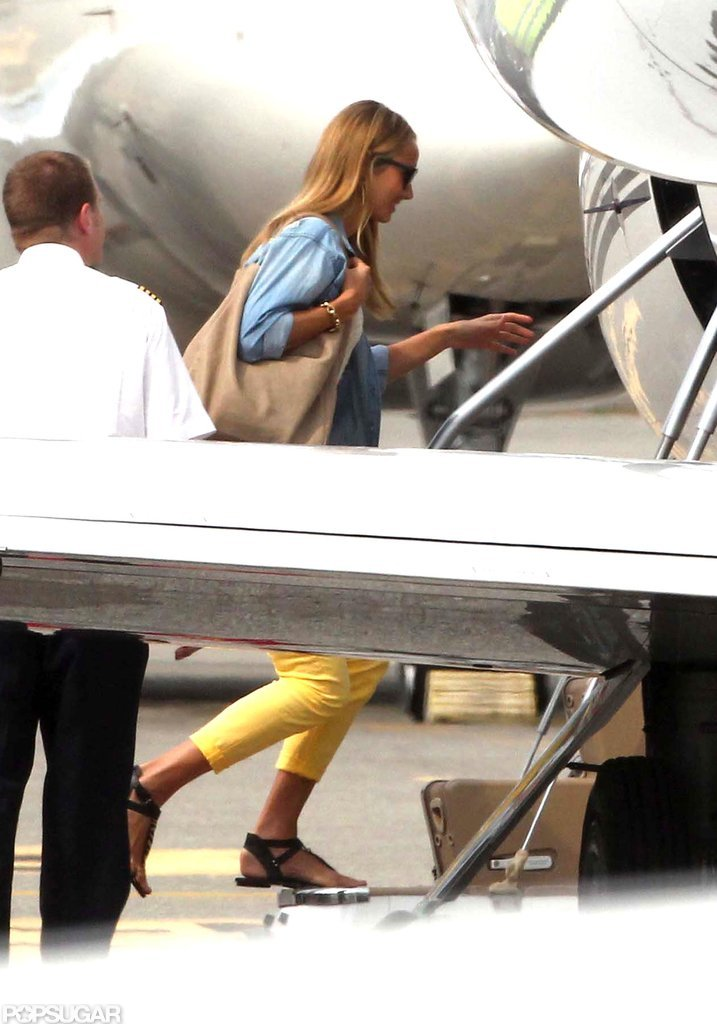 Stacy Keibler boarded a private jet with Jennifer Aniston.