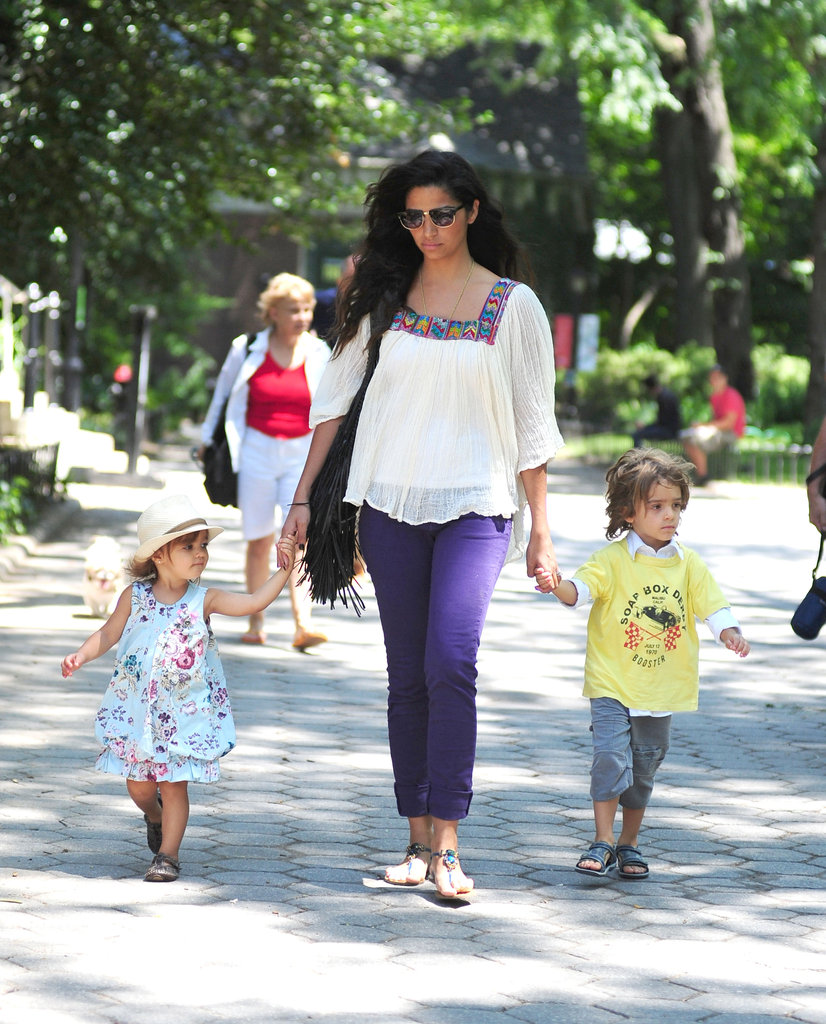 Camila looked cute in purple pants as she spent the day with her kids in NYC.