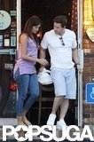 Mark Wahlberg appeared to have some takeout with him as he and Rhea Durham left a restaurant in New Orleans.