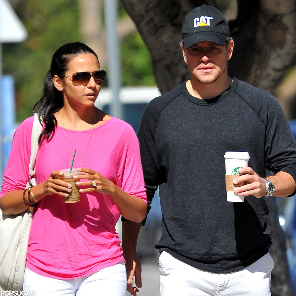 Matt and Luciana Damon strolled around LA.
