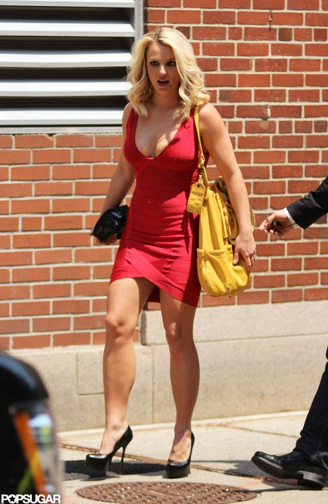 Britney Spears wore a tight dress.