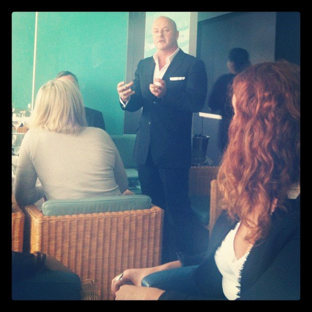 Peter Morrissey spoke about his brand at Bondi Icebergs.