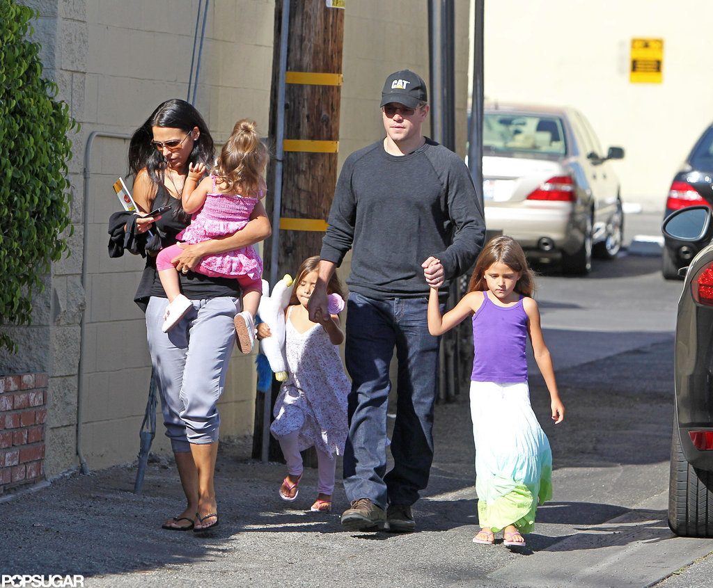 Matt Damon Spends the Weekend With His Girls
