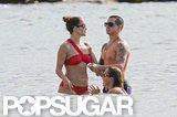 Jennifer Lopez and Casper Smart waded in the water.