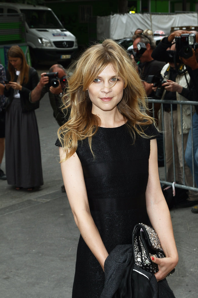 Clemence Poesy wore all black to the Chanel show in Paris.