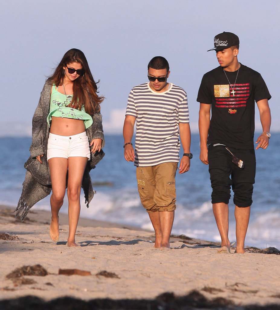 Selena Gomez walked on the beach in Malibu with friends.
