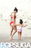 Jennifer Lopez walked with her daughter on the beach in Brazil.