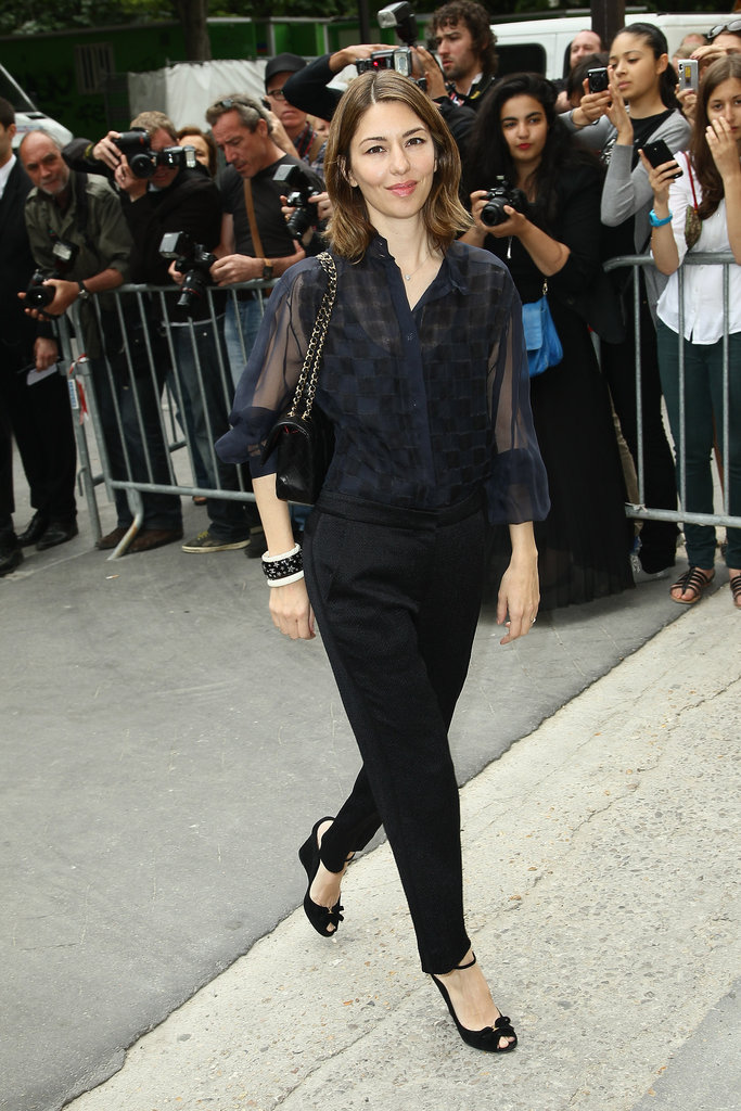 Sofia Coppola entered the Chanel show in Paris.
