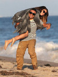 Selena Gomez and her friend goofed around on the beach.