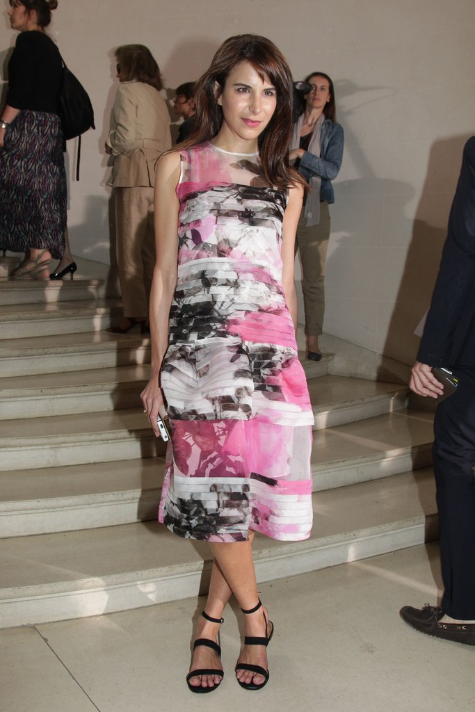 Caroline Sieber selected an abstract-print sheath dress for Christian Dior's show.