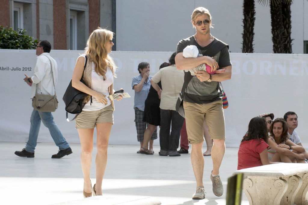 Chris Hemsworth and Elsa Pataky Tour Madrid With Baby India