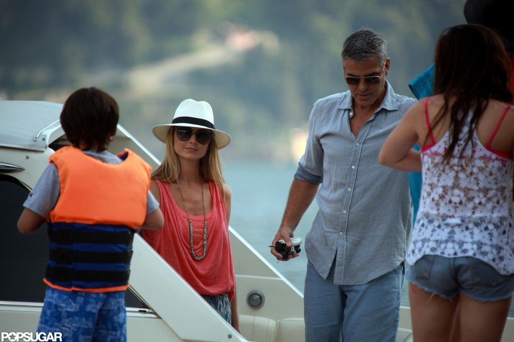George Clooney and Stacy Keibler went boating in Lake Como with friends around Fourth of July.
