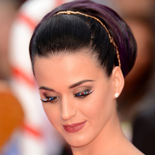Katy Perry Wears Red White and Blue Lashes in London