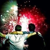 A couple of Jonas brothers enjoyed a fireworks show together. Source: Instagram user adamjosephj
