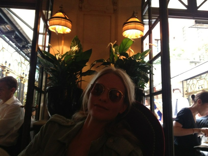 Poppy Delevigne relaxed in a Paris restaurant during Couture Fashion Week. Source: Twitter user alexa_chung