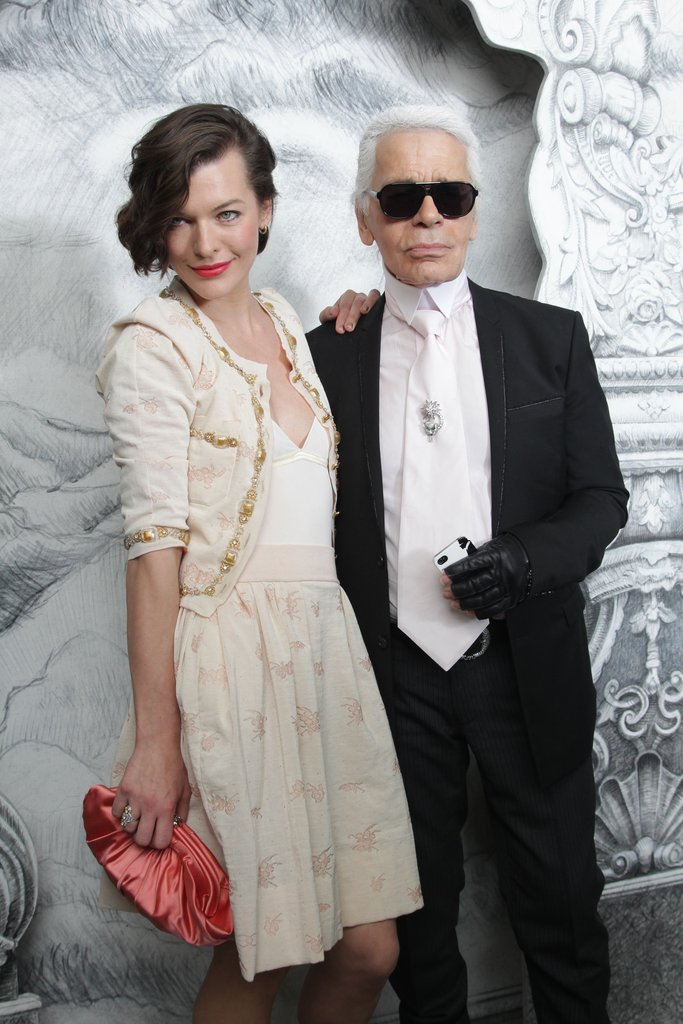 Milla Jovovich and Karl Lagerfeld