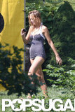 Blake Lively wore a blue and white swimsuit on the Fourth of July in New York.