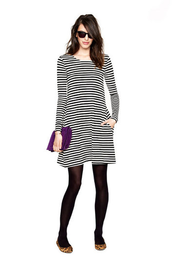 The most versatile of day dresses or day-to-night for that matter, this one feeds right into our stripes addiction — and we love that they've styled it up with cool leopard-print flats.