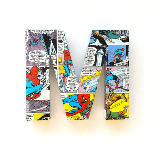 Roseberry Boutique Spider-Man Comic Book Letter ($11)
